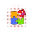 Businessman in a puzzle piece icon comics style vector image