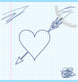 amour symbol with heart and arrow line sketch icon vector image