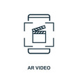 augmented reality video icon monochrome style vector image vector image