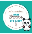 baby shower invitation card with panda design vector image