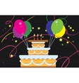Big birthday cake with balloons vector image vector image