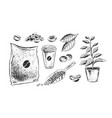 black and white coffee items vector image