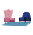 blue and pink armchairs furnitures isolated design vector image vector image