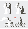 Bride and groom poses for wedding invitation vector | Price: 1 Credit (USD $1)