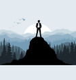 businessman on the rock vector image vector image