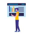 businessman using mobile website report chart vector image vector image