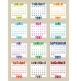 calender for 2013 vector image vector image