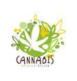 cannabis label original design logo graphic vector image vector image