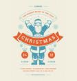christmas party flyer invitation retro typography vector image vector image