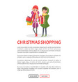 christmas shopping poster women warm winter cloth vector image vector image