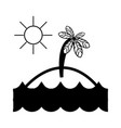 contour island with palm tree with sun and waves vector image