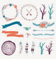 decoration set with arrows feathers floral frames vector image vector image