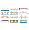 different types bridges architecture flat icons vector image