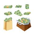 dollar paper business finance money stack in bag vector image vector image