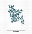 Doodle sketch of Bangladesh map vector image