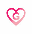 g letter in pink love sign logo vector image vector image
