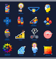gamification motivation flat icons set vector image vector image