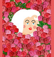 girl face in roses woman head in flower vector image vector image