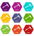 hammer icons set 9 vector image