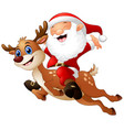 happy santa claus riding a reindeer vector image vector image