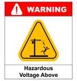 Hazardous voltage above warning banner vector image vector image