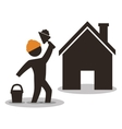 house construction worker wiyh spatule and cement vector image