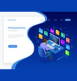 isometric developing programming and coding vector image vector image