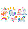 magic unicorns balittle fairytale animals pony vector image vector image