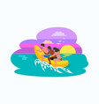 man and woman sitting on inflatable banana boat vector image vector image