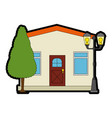 mansion front with tree vector image