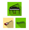 musical instrument flat icons in set collection vector image vector image