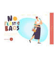 no plastic bags landing page template woman vector image vector image