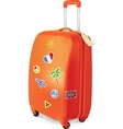 orange travelling baggage suitcase with stickers vector image
