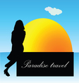 paradise travel with girl vector image