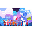 people in santa hats over chat bubbles with merry vector image vector image