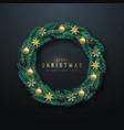 realistic christmas wreath christmas pine vector image vector image