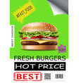 realistic fast food advertising poster vector image vector image
