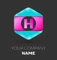 realistic letter h logo in colorful hexagonal vector image vector image