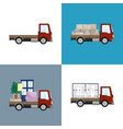 red small trucks with different loads vector image