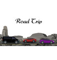 road highway along the rocks traveling by car vector image