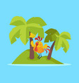 rooster bird on tropic island cock at rest vector image vector image