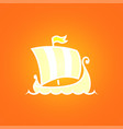scandinavian drakkar on orange background vector image vector image