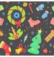 Seamless pattern with christmas elements New year vector image vector image