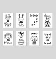 set cute handdrawn monochrome animals in vector image