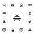set of 12 editable plaza icons includes symbols vector image vector image