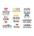 set of 9 hand lettering christian quotes jesus is vector image vector image