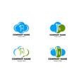 set of cloud money logo template design vector image