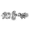 set of three hand drawing animals - elephant vector image