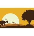 Silhouette of parasaurolophus with sun vector image vector image