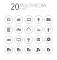Simple thin multimedia icons collection on white vector image vector image